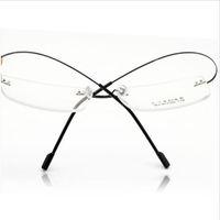 Wholesale Memory Steel Wire - Wholesale- Superelastic steel wire frameless glasses frame ultra-light fashion rimless memory titanium eyeglasses frames optical frames