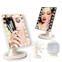 Wholesale Led Rotating Table Lamp - 2017 Touch Screen LED Cosmetic Mirror 16 22 LED Lamps 360°Rotating Folding Table Makeup Mirror Compact Pocket Makeup Tool Best Gift