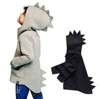 oğlan dinozor hoodie toptan satış-Dinozor Hoodies Ağır Yünlü Kumaş Fermuar Çocuklar Sonbahar Kış çocuk Erkek Kız Mont Açık Spor Ceketler Kıyafetler 1-5 T