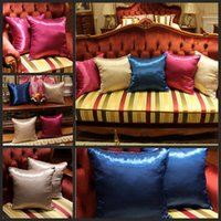 Wholesale Ice Car Cover - Newest Silk Pillow Case Cover Glamour Square Home Sofa Car Decor Ice silk PillowCovers 3 Color 45*45cm 60 Pcs YYA185