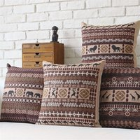 Wholesale Set Covers For Sofa Cushions - Bohemian Style Cushion Cover Set Passionate Elephant Floral Printed African style Throw Cushion Cover Pillow Case for Sofa