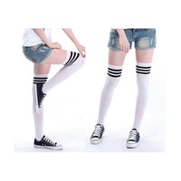 Wholesale Thigh High Socks Hot - Wholesale-Delicate Hot! 1 Pair Fashion Thigh High Over Knee High Socks Girls Womens New M24 P14