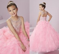 Wholesale Tea Length Baby Pageant Dresses - Baby Pink Cute Glitz Girl's Pageant Dresses Sheer Neck Backless Beaded Crystals Rhinestones Princess Kid's Formal Wear with Tiers Skirts