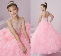 jolie fille vêtue d'une robe rose achat en gros de-Les robes de cérémonie de Pink Pink Cute Girl Glitz Girl Sheer Neck Backless perlé cristaux strass Princesse Kid formels avec jupes Tiers