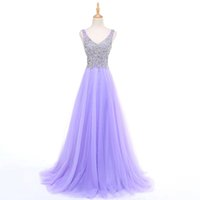 Barato Belas Imagens Naturais-Imagem Real Fada Bonita V-Neck Beaded Corpete de cristal A Line Long Evening Dress Lavender Party Elegante Vestido De Festa Fast Shipping 2017