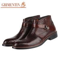Wholesale Italian Men Shoes For Sale - GRIMENTIN Hot sale luxury fashion men boots genuine leather Italian black brown ankle boots men shoes for wedding busines size:38-45 BH1