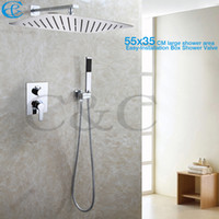 Wholesale Embedded Shower Head - Contemporary Bath & Shower Faucet Set 55X35 CM UFO Ultra-thin Rain Shower Head Easy-Installation Embedded Box Shower Valve 002V-55X35T-2K