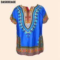 Wholesale Ethnic Print Shirt - Unisex Cotton Dashiki Mens Women African T-Shirt Top Traditional Tribal Ethnic Succunct Hippie Top