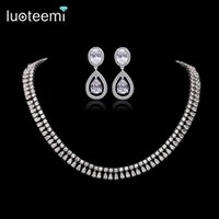 Wholesale Clear Stone Necklace Sets - LUOTEEMI Luxury Elegant Bridal Necklace Earrings Set Shining Clear CZ Stone with White Gold-Color Jewelry Set for Women Wedding Accessories