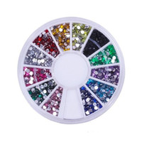 Wholesale Wholesale Nail Art Deco - Nail Art Glitter Tip 2mm Rhinestone Deco With Wheel 1200 Pcs set Free Shipping 1000sets lot Supply