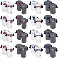 Wholesale Usa Baseball - USA WBC Baseball 2017 World Baseball Classic 27 Giancarlo Stanton 28 Buster Posey 35 Eric Hosmer 22 Andrew McCutchen Adam Jones Jersey