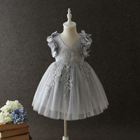 Wholesale Korean Baby Girls Tulle Lace Dresses Kids Girls Princess D Floral Dress Girl Luxury Party Dress Babies Summer clothing