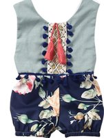 Wholesale Overalls Girls Kids - Cotton Girls Newborn Romper Kids Jumpsuit Newborn overall Infant Baby Girls Floral Romper Cotton Jumpsuit Sleeveless Sunsuit Outfit Clothes