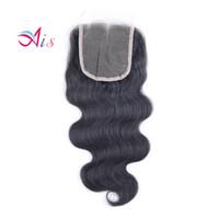 saç üstü kapanış satışı toptan satış-Sıcak Satış Sınıf 7A Dantel Kapatma 4 * 4 Brezilyalı Vücut Dalga Doğal 1B İnsan Saç Dokuma Orta / Ücretsiz Parçaları Üst Dantel Kapakları
