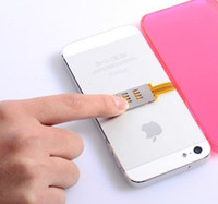 Wholesale Double Sim Card Adapter - Wholesale-Portable Dual 2 Sim Cards Double Adapter Single card Standby for iPhone 4S GSM and WCDMA sim card network