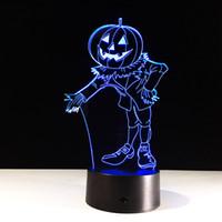 ingrosso luci per zucche di halloween-Dropshipping Wholesale Dropshipping della batteria di carico di CC 5V USB della luce di notte della lampada di illusione ottica della hallowen 3D della zucca