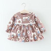lange kleider für kleinkinder großhandel-Herbst Mode Infant Baby Mädchen Kleid 2017 Marke Casual Baumwolle Langarm Blumendruck Mädchen Kleider Kleinkind Mädchen Kleidung