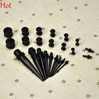 Wholesale Taper Tunnels - 9Pcs Pack Ear Taper And Plug Stretching Kits Body Piercing Jewelry Ear Plugs Expanders Kit Wholesale Ear Gauges Set Mixed Colors Lots 9188