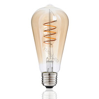 ST64 Vintage LED Bulb Design exclusivo Spiral dobrada Filamentos COB LED Lâmpada Dimmable 4W 110V 220V 2200K Quente Amarelo Decorar Arte Edison Light