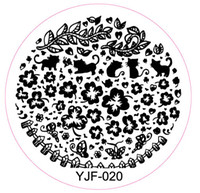 Wholesale Cat Stamping Nail - Wholesale- Hot Sale 1 Pcs Nail Stamping Plates Stamping Template Nail Art Round Stainless Polish Templates Flowers&Cute Cat Design YJF-20