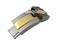 Wholesale 9mm Belt - Wholesale- 16mm* 9mm Hot Watch Band Bracelet Metal Steel Belt Buckle Deployment Clasp Middle Gold Silver Two Tone 316L Stainless Steel
