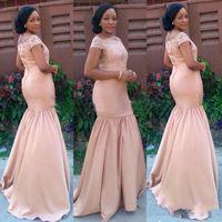 modische afrikanische kleider großhandel-Modische afrikanische Meerjungfrau lange Brautjungfer Kleider Lace Satin Hochzeitsgast Kleid De Fiesta Vestidos formale Abendkleider