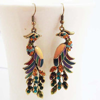 Wholesale Clearance Charms - Clearance Sale !!! Vintage Peacock Colorful Crystal Gold Ladies Womens Fashion Earrings Wholesale