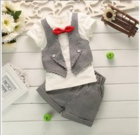 Wholesale Boys Suits Retail - Retail 2017 New Summer Baby Boys Gentleman Clothing Sets Toddler Short Sleeve T-shirt With Bowtie+Shorts 2pcs Set Kids Suit Baby Boy Outfits
