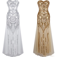 Wholesale Sexy Cotton Night Gown - 2017 golden Evening Dresses Luxury Designer Prom Dress Off the Shoulder sequin dress Cheap Beading Evening Gown Dresses