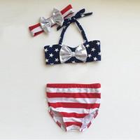 Wholesale Flag Day Kids - 4th of july Toddler swimwear Baby Girls Bikinis Bow Headband US flag Striped kids 3PCS Swim clothes