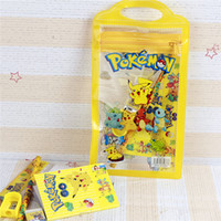 Wholesale Office Suit Wholesale - Pikachu cartoon children's stationery suit pencil pendant eraser ruler baby kids School Supplies set Pencil Bags 1411