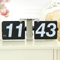 Wholesale Table Clock Stand Flip - creative Desk clock with one foot Modern personality automatically flip design arabic numbers stand desk table clocks
