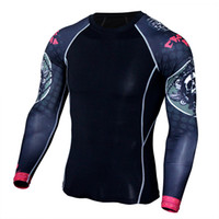 Wholesale Mma Skin - Mens Fitness 3D Prints Long Sleeves T Shirt Men Bodybuilding Skin Tight Thermal Compression Shirts MMA Crossfit Workout Top Gear