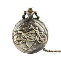 Wholesale motorcycle red glasses resale online - Retro bronze motorcycle big dial fashion nacklace chains pocket watches leisure women mens dress gift watch