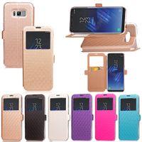 affichage de l'appelant achat en gros de-Affichage de l'identification de l'appelant Open Window Wallet Leather Pour Galaxy S8 / Plus / (A3 A5 J5 J7) 2017 A320 A520 J520 J720 Support vertical Skin TPU Flip Cover