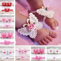 amerikanische babyschuhe großhandel-Baby Schuhe Blumen Baby Fußkettchen europäischen und amerikanischen Kinder Fuß Dekoration Blumen Stirnband Und Fußkettchen Kunst gewebt Schuhe