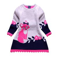 Wholesale Thick Girl Dresses Sleeves - Double-layer Long-Sleeve Autumn Winter Kids Fox Clothing Thick Girl Fox Sweater Dress for Children 4-8 Y