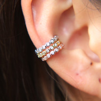 Wholesale top ear cuff - top quality 925 sterling silver three color cuff bezel AAA cubic zirconia cz circle no pierced girl women stack cuff earring