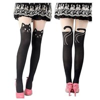Wholesale Cheap Nylon Tights - Wholesale-New Fashion Nylon Cat Head And Tail Tattoo Stockings Women Sexy Thigh High Pattern Tights One Plus Two Pantyhose Cheap Wholesale