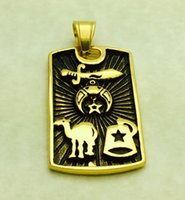 Wholesale Masonic Necklaces - 2016 New stainless steel men man's gold freemason signet masonic shriner pendant with camel sword hat cap necklace jewelry