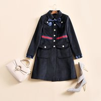 Wholesale Bow Wool Coat - Free Shipping 2017 Autumn Dark Blue Bow Collar Single Button Runway Woolen Women's Coats High End Brand Same Style Coat Women 121320