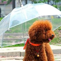 Wholesale Pe Gear - Useful Transparent PE Pet Umbrella Small Dog Umbrella Rain Gear with Dog Leads Keeps Pet Dry in Rain Snowing CCA6872 60pcs