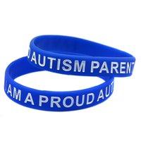 Wholesale gifts for parents resale online - 100PCS I am A Proud of Autism Parent Silicone Rubber Decoration Bracelet Blue for Promotion Gift