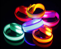 Wholesale Led Flash Wrist Bands - KTV Club Party Grand Event Glowing LED Flashing Wrist Band Bracelet Arm Band Light Up Dance Jogging Glow in dark Cheer props
