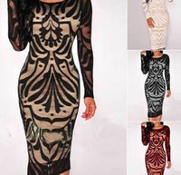 Wholesale Embroidered Cotton Dress Women - Autumn and winter new lace hollow embroidered long-sleeved pencil dress
