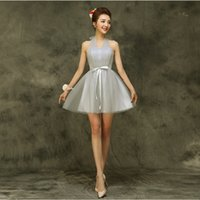 Wholesale Short Dresses For Bride Maids - country style new for 2017 halter brides maid special occasion short dresses gray princess elegant bridesmaid dress H3535