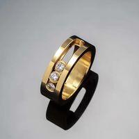 homens anel europeu venda por atacado-Venda direta de moda europeu e americano jóias três anel de diamante amantes deslizantes anel de diamante três e anel de diamante dos homens