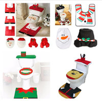 Wholesale Toilet Seat Padding - 2017 Christmas Eco Friendly Toilet Foot Pad Seat Cover Cap 3Pcs Christmas Decorations Happy Santa Toilet Seat Cover and Rug Bathroom Set