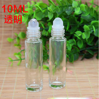 Wholesale Empty Glass Aromatherapy Bottles - Clear Glass Roll On Bottle 10ml (1 3oz) Essential Oil Empty Aromatherapy Bottles metal Glass Roller Ball Wholesale 700pcs lot Free Shipping