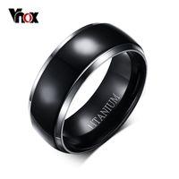 Wholesale Usa Black Metal - Vnox Mens Titanium Ring Black Engagement Wedding Jewelry USA Size 100% Titanium Metal
